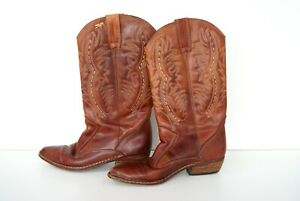 VINTAGE PIKOLINOS TAN LEATHER WESTERN COWBOY BOOTS MADE IN SPAIN AU SIZE 6