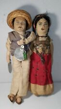 Vintage Mexico Dolls Man & Woman, Husband and Wife Mexican Folk Art