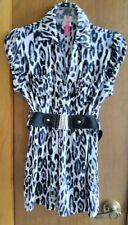 Heart Soul Black And Grey Animal Printed V- Neck Short Sleeve Belted Waist Shirt