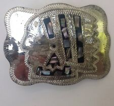 Indian Head  Belt Buckle Abalone Inlay Vintage American Retro Classic