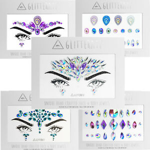 Face Gems Adhesive Glitter Jewel Tattoo Sticker Festival Rave Party Body Make Up