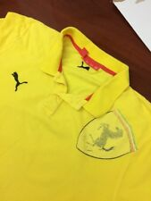 Puma Scuderia FERRARI Mens  Polo Shirt Huge Logo Yellow Large Made Turkey