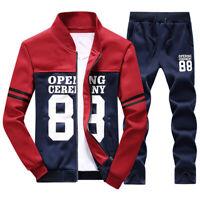 2Pcs Men Tracksuit Jogging Top + Pants Sports Fitness Spring Fall Size XS-4XL