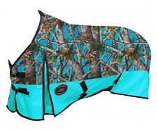 "74"" Showman 1200D Waterproof & Breathable Teal Real Oak Turnout Horse Blanket"