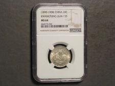 CHINA-KWANGTUNG 1890-1908(ND) 20 Cents Silver NGC Slabbed MS-64