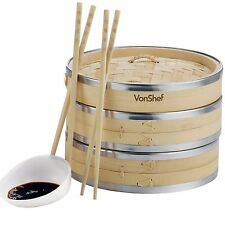 VonShef 2 Tier 8'' Bamboo Steamer - 2 FREE Chopstick Pairs & 50 FREE Wax Papers