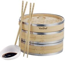 VonShef 2 Tier 8'' Bamboo Steamer - 2 FREE Chopstick Pairs & 50 Wax Papers