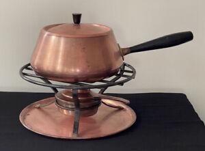 Vintage Spring Swiss Made Fondue Pot Cooking Rack Copper Burner MCM Mid Mod