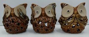 Ceramic Wise Owl Tealight Set of 3 - See, Hear & Speak No Evil
