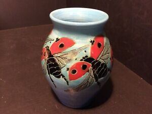 """A DENNIS CHINA WORKS, SALLY TUFFIN ? 5 """" VASE No:12 'FLYING LADYBIRDS' JG'98"""