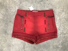 New FREE PEOPLE Burgandy Red Embroidered Shorts Sz 28 Anthropologie Coachella