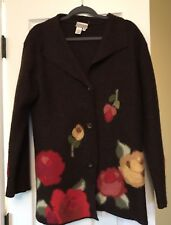 Coldwater Creek Women's Wool Brown Floral Sweater Cardigan Jacket Coat Size M