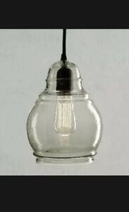 "Pottery Barn Paxton Hand Blown Glass Pendant, Medium Shade 10"" 2 Available NIB"