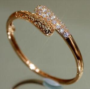 Created Brilliant Diamond Rose Gold GF Bangle, Perimeter: 17.5cm #001