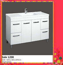 Bathroom Vanity High Gloss Two Pac White Sale 1200 With Legs or Kickers