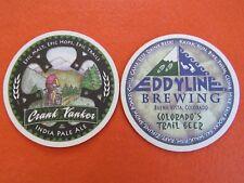 Beer Brewery Coaster ~ EDDYLINE Brewing Crank Yanker IPA ~ Buena Vista, COLORADO