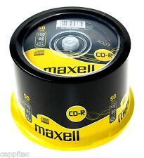 MAXELL CD-R 700 MB 80MIN 52X max MATT SILVER TOP BIANCO DISCHI 50 Pack Spindle