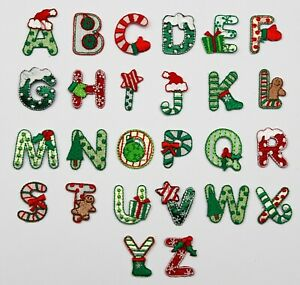 Christmas Alphabet Letters Embroidered Motif Fabric Iron On Patch Children's
