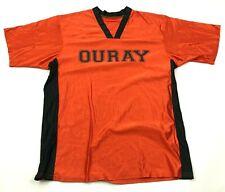 VINTAGE Ouray Jersey Size Medium M Orange Black Shirt V-Neck Tee Adult 90's USA
