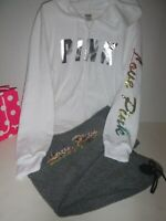 Victoria Secret Pink hoodie sequin rainbow jacket  rainbow  pants set L New