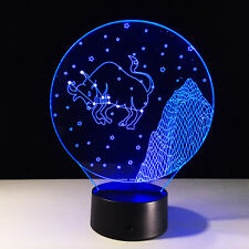 3D Night Light Touch Switch Acrylic Lamp LED Taurus Halcyone Constellation Deco