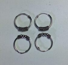 2 pairs 925 Sterling Silver 14mm Bali Hoop Round Earrings New