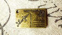 Postcard love letter charms 5 antique bronze vintage style pendant C74