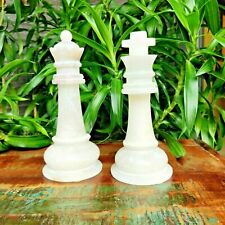GAURI KOHLI Checkmate Marble King Queen Décor Accent White (Set of 2)