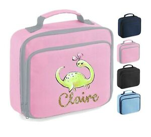 Personalised School Lunch Bag, Pink Girl Dinosaur + Name, Choice of Colour,108