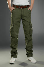 Men's Combat Cotton Cargo Pants Military Camouflage Camo Trousers ARMY GREEN