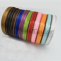 25 Yards/Roll 10mm Gold Edge Satin Ribbon Bow Wedding Multi Craft Supplies DIY