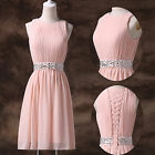 Pink Mini Beaded Bridesmaid Dress Homecoming/Graduation/Cocktail/Party/Prom Gown