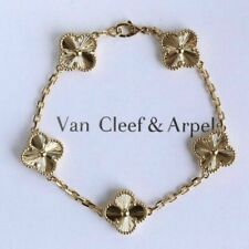 Authentic Van Cleef Arpels VTG Alhambra 5 Motif Guilloché Yellow Gold Bracelet