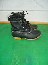 LL BEAN Black Leather/Rubber Ankle Boot Women SZ# 8 M