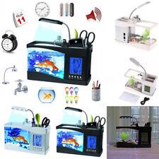 Desktop Small Fish Tank Aquarium Lamp  Timer Clock LED Light USB Charge Full