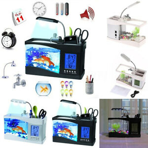 Desktop Small Fish Tank Aquarium Lamp  Timer Clock LED Light USB Charge