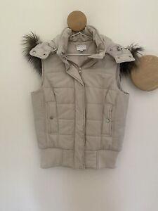Witchery Fur Sleeveless Hooded Puffer Vest Size 10 EC