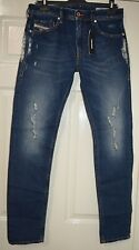 DIESEL~THOMMER 084YY~BLUE STONEWASHED/RIPPED/PATCHED SLIM SKINNY JEANS W31 32L