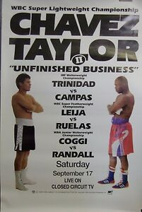 Chavez Taylor II Original 27x40 Poster Julio Cesar Chavez Meldrick Taylor White