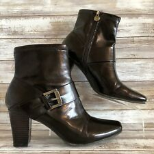 Etienne Aigner Womens 9M Ankle Boot Brown Faux Leather Square Toe Zip Block Heel