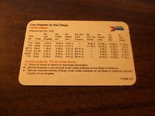SCARCE APRIL 1978 AMTRAK LOS ANGELES TO SAN DIEGO WALLET SIZED PUBLIC TIMETABLE