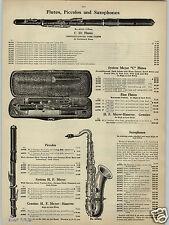 1913 PAPER AD Evette & Schaeffer's P Goumas Co Sax Saxophone Cornet Courtois