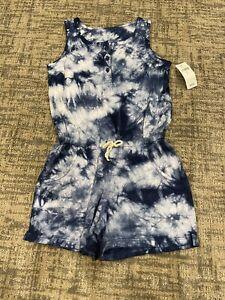 NWT Gap kids navy blue Tie Dye Sleeveless Cotton Romper Pockets XS 4/5
