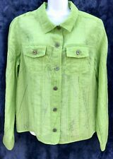 French Laundry Green Ultra Sheer Jean Jacket Style Cuffs Size: Size L