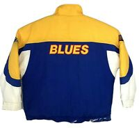 Vtg Mens Apex One St Louis Blues Puffer Jacket NHL Hockey Blue Yellow Size XL