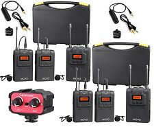 Movo Wireless UHF Quad Lavalier System with 4 Bodypack Transmitters, 2 Recivers