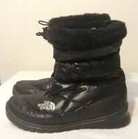 Womens The North Face Black Quilted Goose Down Faux Fur Trim Winter Boots 7