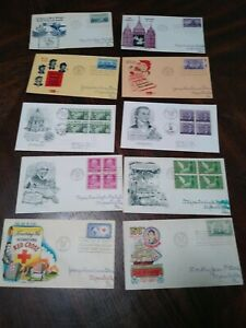 LOT OF 10 FIRST DAY ISSUE STAMPS + ENVELOPES 1947 - 1958