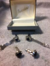 (2) PAIR MENS CUFFLINKS---SILVER--BLACK STONE---BLUE STONE---FREE SHIP--VGC
