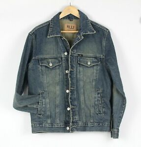 WESTCO Denim Trucker Jacket Mens Sz S Blue Faded Grunge Distressed Vintage 90's